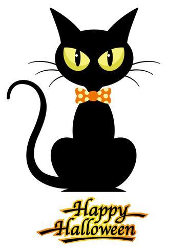Gatto nero con logo Happy Halloween, isolato su uno sfondo bianco.