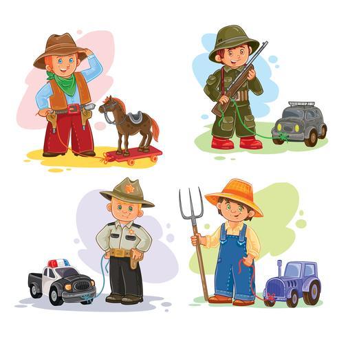 Conjunto de ícones do vetor de pequenas crianças diferentes profissões