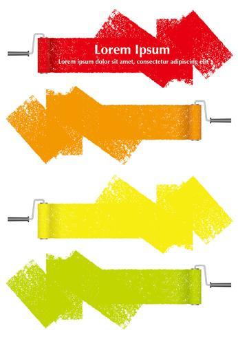 Insieme degli elementi di disegno astratto del rullo di vernice isolato su sfondo bianco.