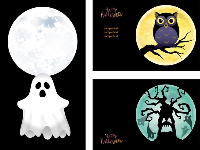 Set di modelli di cartolina d'auguri di Halloween felice con un fantasma, un gufo e un albero infestato.