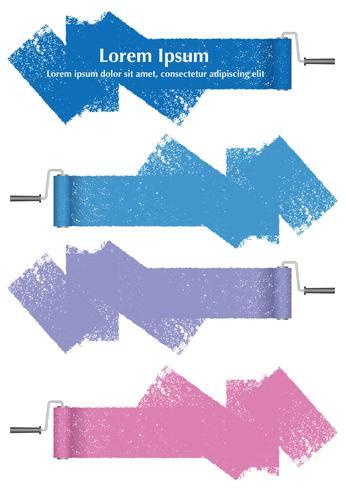 Conjunto de elementos de design abstrato de rolo de pintura isolado em um fundo branco. vetor