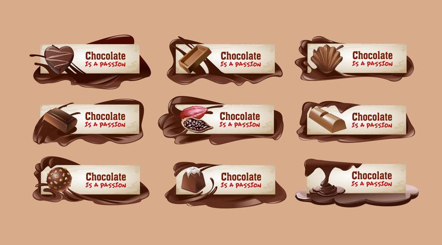 Set di banner di cioccolato vettoriale.