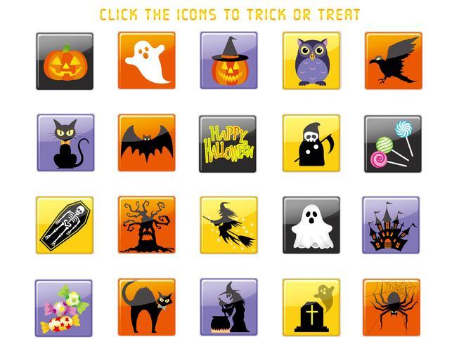 Set di icone di interfaccia utente felice halloween assortiti.