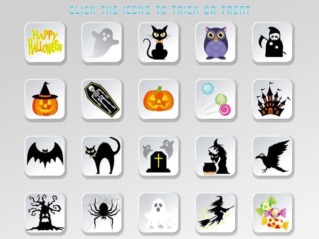Satz sortierte glückliche Halloween-Benutzerschnittstellenknöpfe.