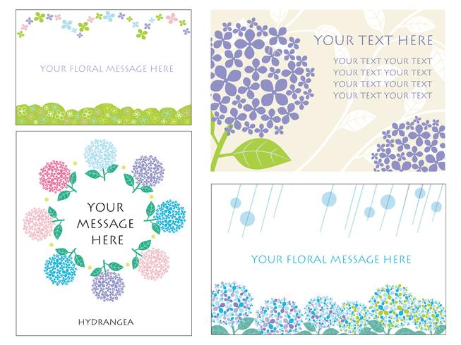 Set of four card templates with hydrangeas. vector