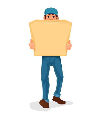 Mann trägt eine Pappschachtel