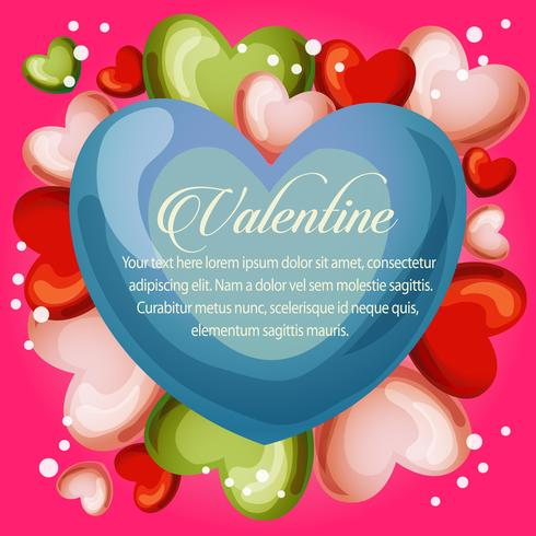 valentine cute heart with neon pink background
