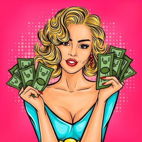 Garota de pop art vector com dinheiro