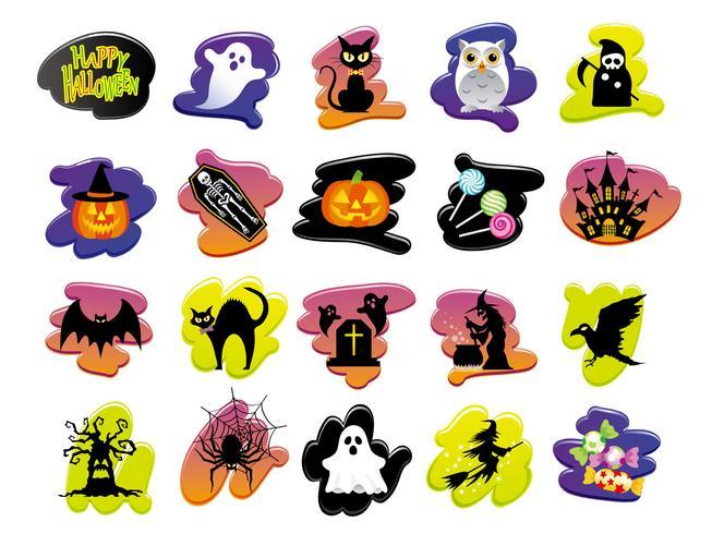 Conjunto de iconos de interfaz de usuario de Happy Halloween surtidos.