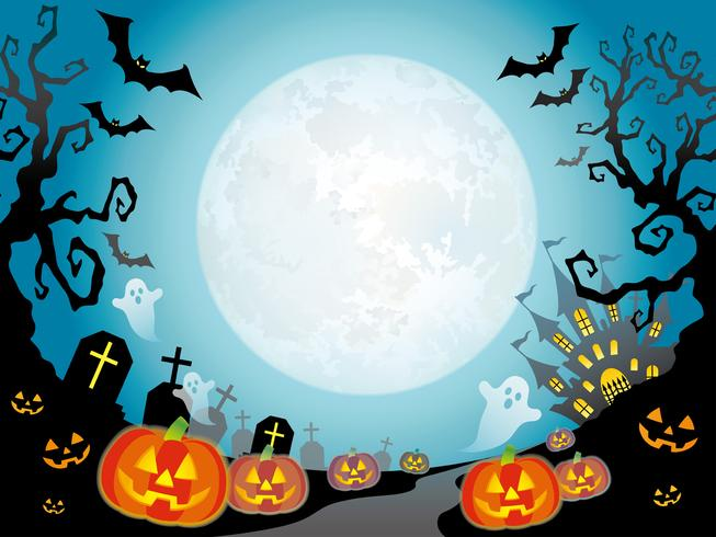 Paisaje inconsútil feliz de Halloween con una luna llena.
