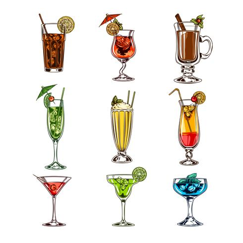 Vector set di bicchieri da cocktail
