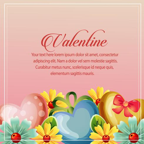 valentine card yellow floral decoration