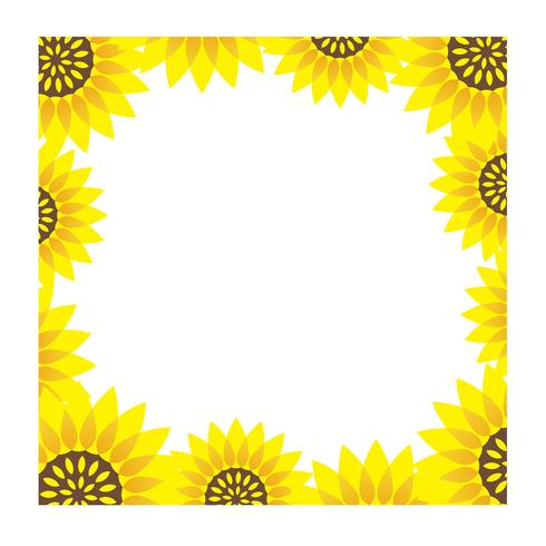 Square sunflower frame with text space.  vector