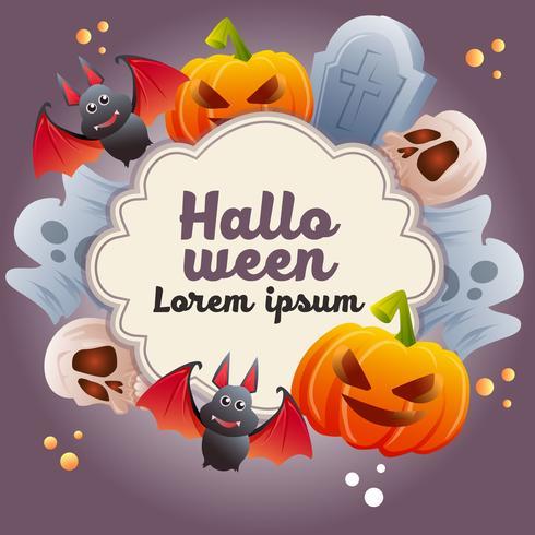 halloween theme with skull bat grave