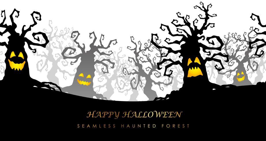 De gelukkige naadloze achtervolgde bos vectorillustratie van Halloween met tekstruimte.