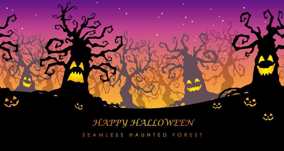 Glückliche Halloween-nahtlose frequentierte Waldvektorillustration mit Textraum.
