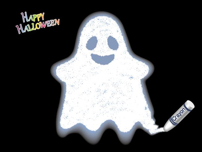 Illustrazione felice del pastello del fantasma di bianco di Halloween su un fondo nero.