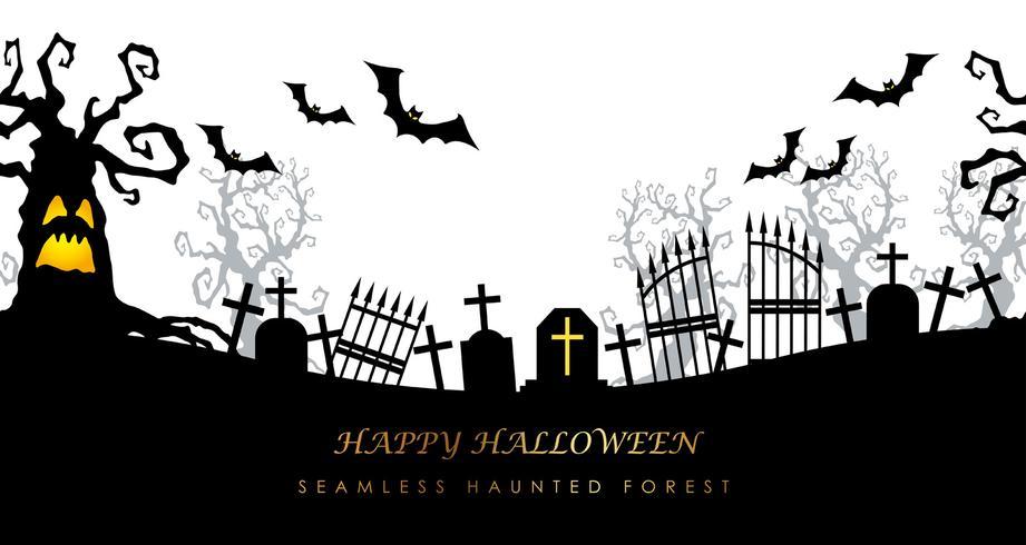 Cimitero terrificante senza cuciture felice di Halloween con lo spazio del testo.
