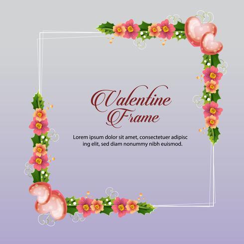 marco floral de san valentín rosa