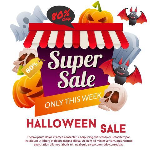 halloween super sale template with pumpkin