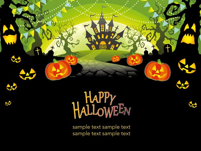 Happy Halloween vector illustration with text space.