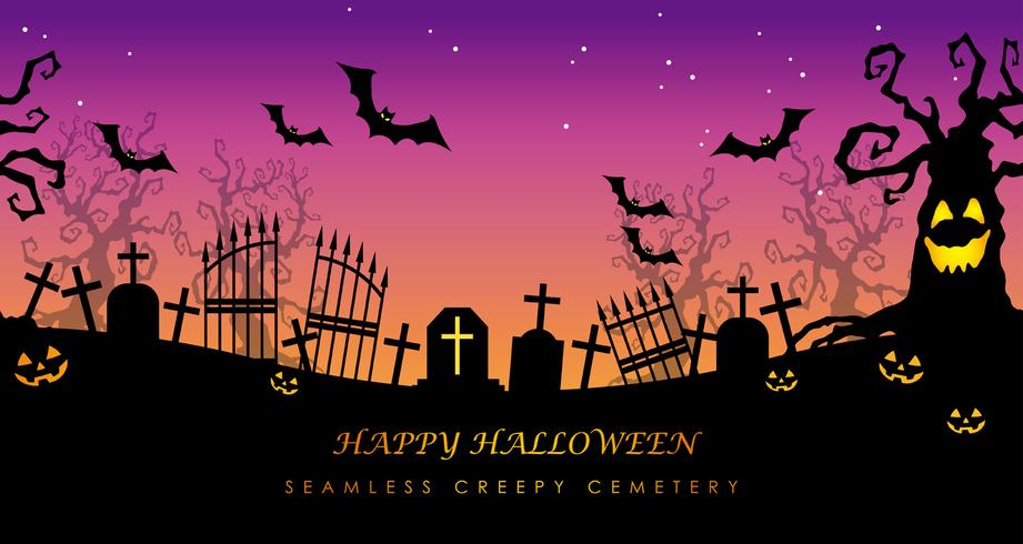 Happy Halloween seamless creepy cemetery with text space.