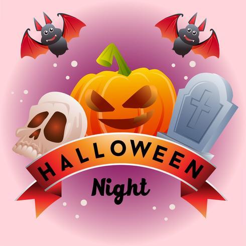 cinta de halloween con calabaza cráneo calavera tumba vector