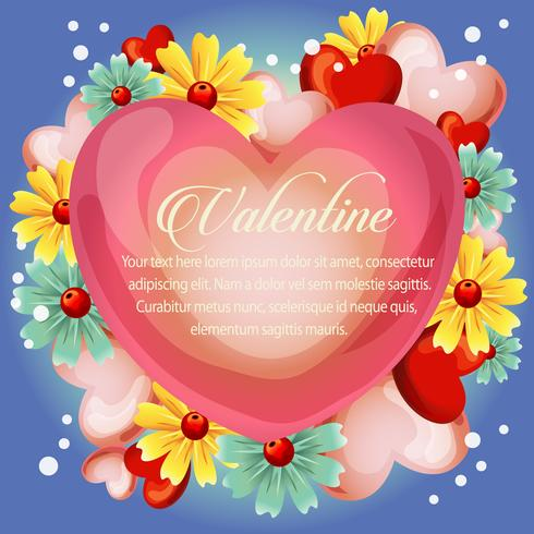 valentine cute heart with spring flower