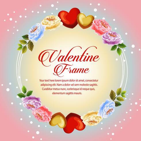 marco de círculo hermosa flor flor de San Valentín