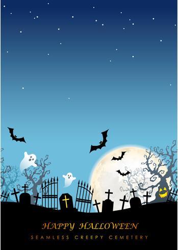 Glücklicher nahtloser gruseliger Kirchhof Halloweens mit Textraum.