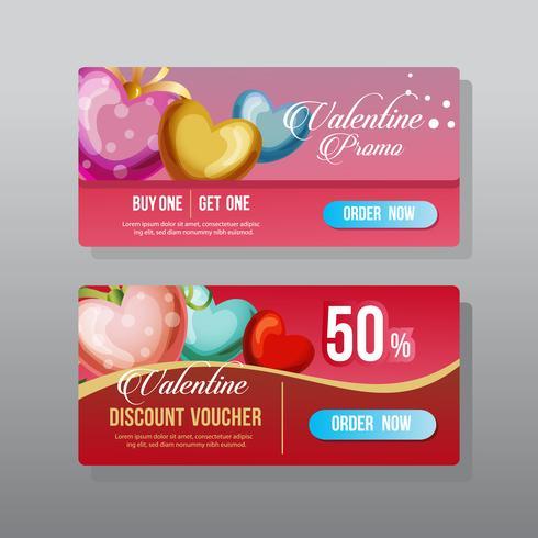 San Valentín web banner corazón adornado
