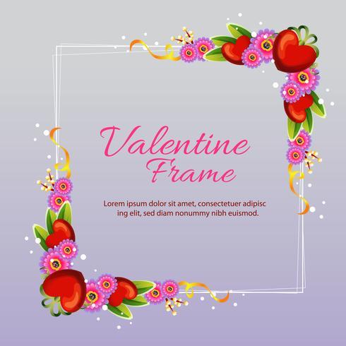 Valentine Frame Square mit Blume