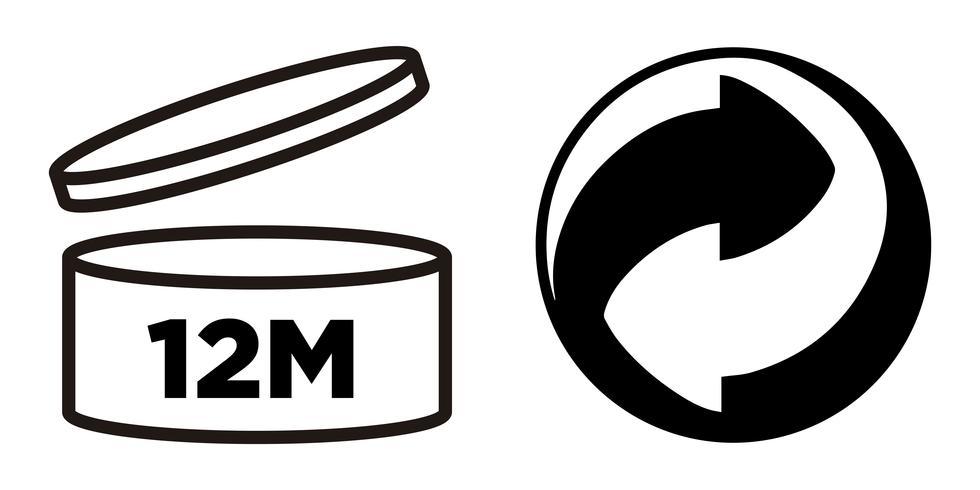 12M Período após abertura, símbolo PAO e símbolo Green Point para embalagens de cosméticos. vetor