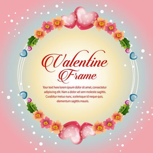 carte de valentine cadre fleur cercle