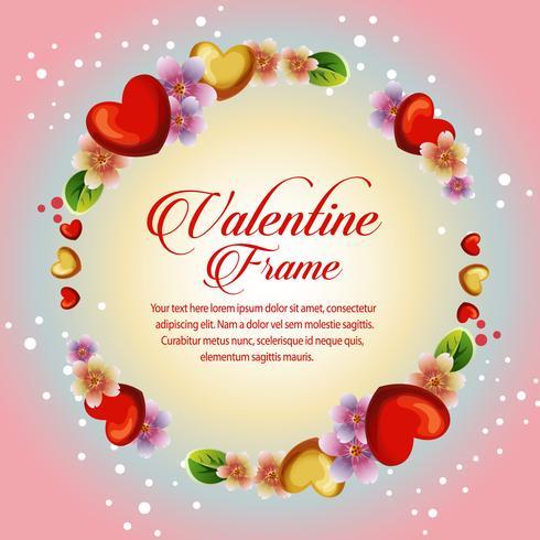 cartão de dia dos namorados floral de círculo
