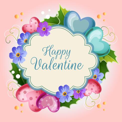 carta di illustrazione di San Valentino con fiore blu