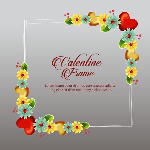 gult blommigt valentin ramkort