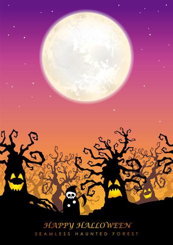 Feliz dia das bruxas sem costura assombrada floresta com espaço de texto