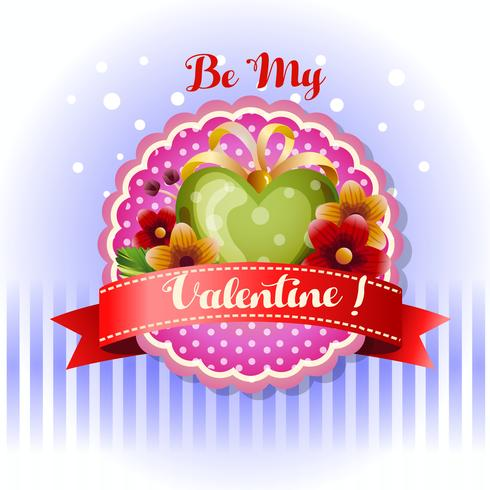 be my valentine card red green heart
