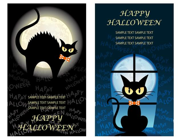 Set of two Happy Halloween greeting card templates with black cats.