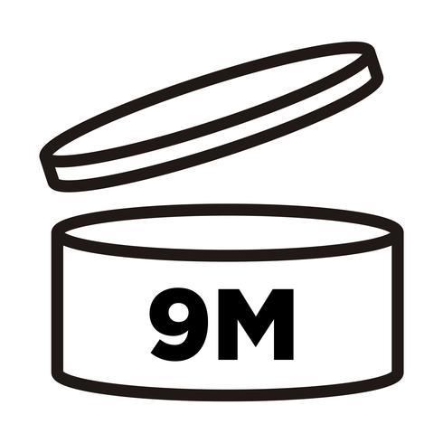 9 mesi. Periodo dopo l'apertura, simbolo PAO, icona della data di scadenza.