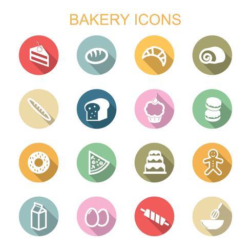 ícones de sombra longa de padaria