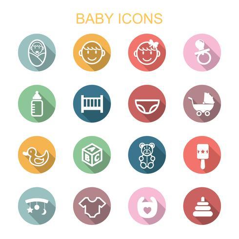 baby lange schaduw pictogrammen vector