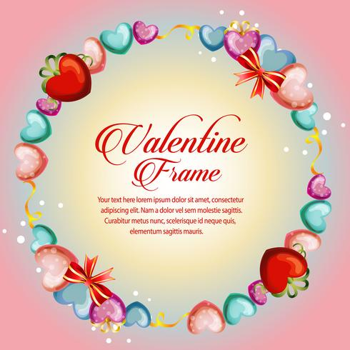 circle love frame valentine card