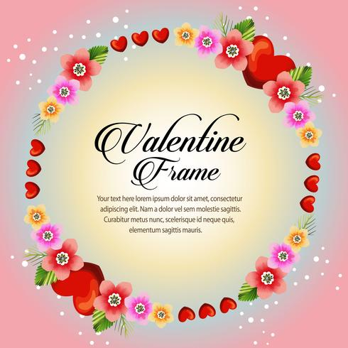 circle red floral frame valentine card