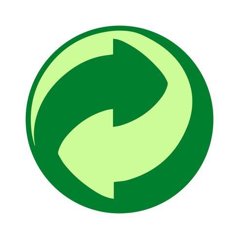 Símbolo do ponto verde. Legislação europeia para o tratamento e reciclagem de embalagens plásticas. vetor