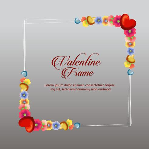 tarjeta de marco flor de san valentín