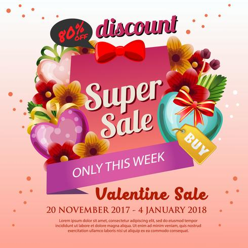 valentine Poster sale with heart shape