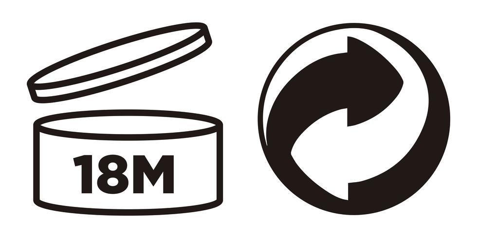 18M Período após abertura, símbolo PAO e símbolo Green Point para embalagens de cosméticos. vetor