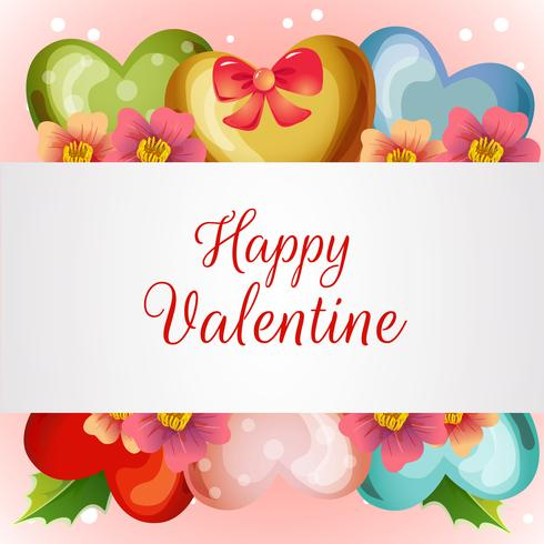 valentine card with flower love balloon